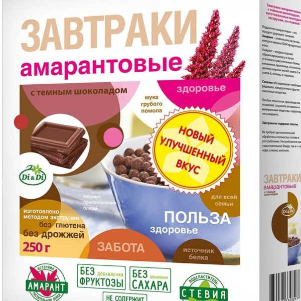 завтраки амарантовые с темным шоколадом