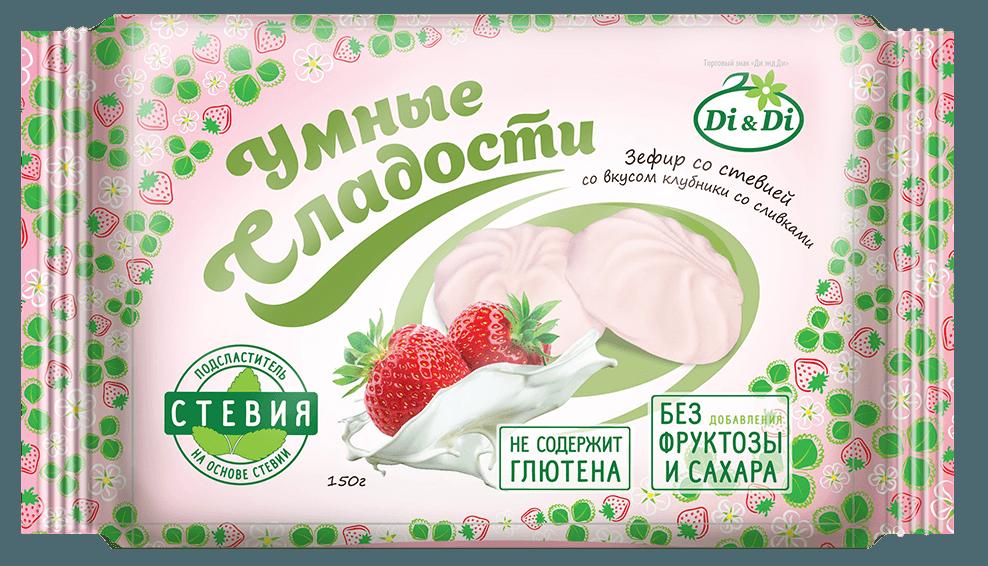 Зефир диетический ванильный без сахара на стевии Клубника со сливками 180г