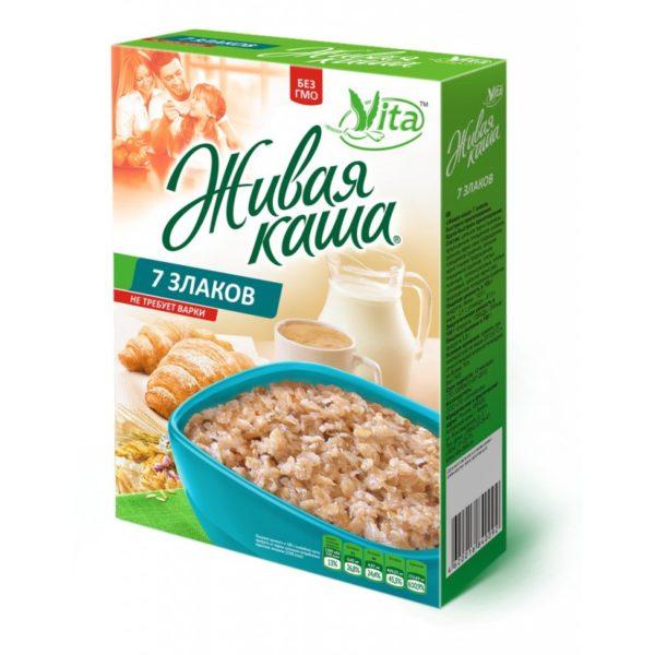 Живая каша Vita 100% 7 злаков МИКС пророщенное зерно+хлопья 300г