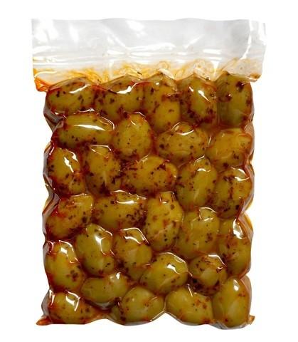 Оливки зеленые Халкидики с паприкой Attica Food 250г Греция