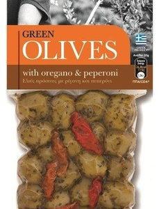Оливки зеленые с орегано и пепперони OLIVES с косточкой 150г Греция