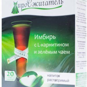 Жиросжигатель Имбирь с L-карнитином и зеленым чаем напиток растворимый 100г