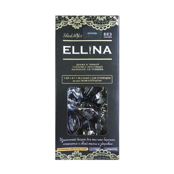 Конфеты драже Ellina со стевией Ассорти Премиум в картонной коробочке 150г