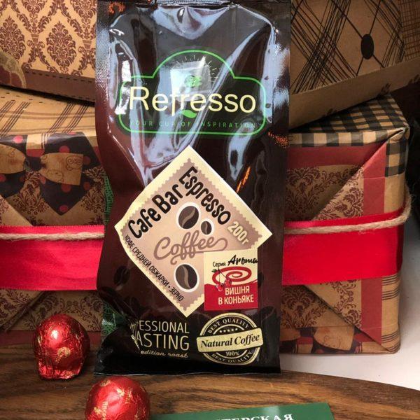 кофе refresso вишня в коньяке зерно 200г