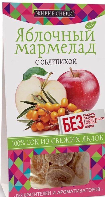 Яблочный мармелад без красителей, ароматизаторов и патоки, без сахара с облепихой 90г