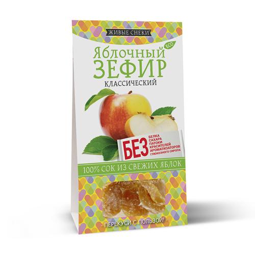 Яблочный зефир без животного белка, без сахара, без красителей и ароматизаторов 60г Живые снэки