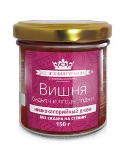 Джем низкокалорийный без сахара Вишня, бадьян и ягоды годжи 150г