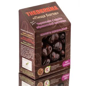 Конфеты шоколадные Чернослив с абрикосовой косточкой без сахара и термообработки 160г