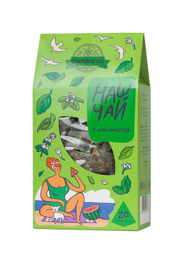 Чай зеленый с мелиссой Наш чай пирамидки 50г Крым