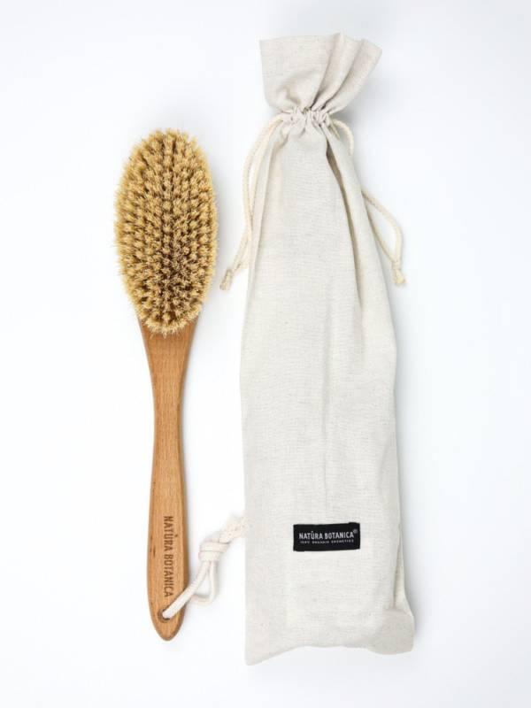Щетка для сухого массажа большая с ручкой Natura Botanica в чехле