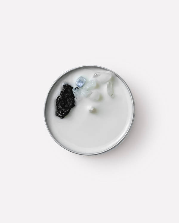 Соевая свеча с эфирным маслом Пало Санто с кристаллами турмалина и лунного камня 100 г