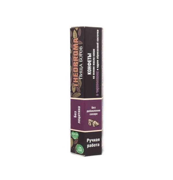 Конфеты шоколадные Чернослив с абрикосовой косточкой без сахара и термообработки 60г