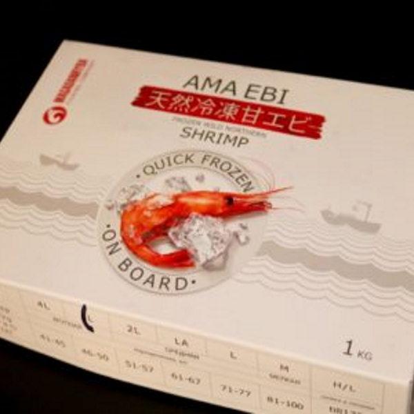 Креветки сыромороженные Ama Ebi без глазури размер LA 61-67 шткг 1кг Россия