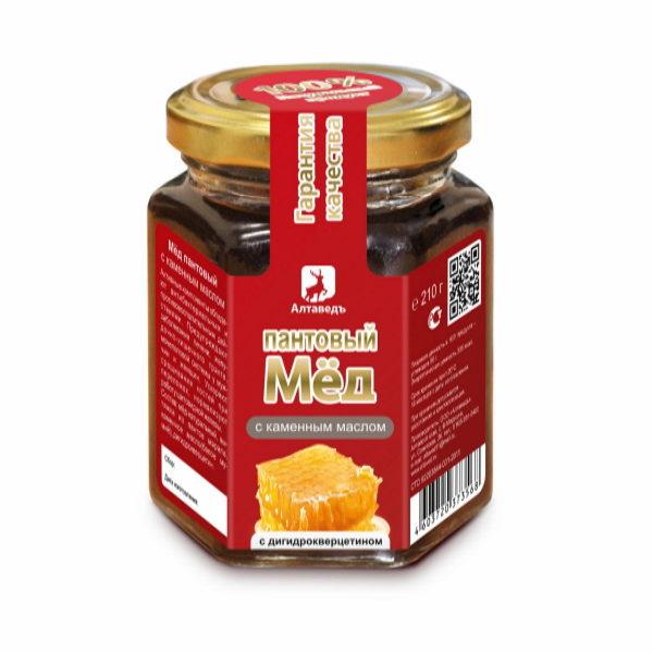 Пантовый мёд с каменным маслом и дигидрокверцитином Алтай