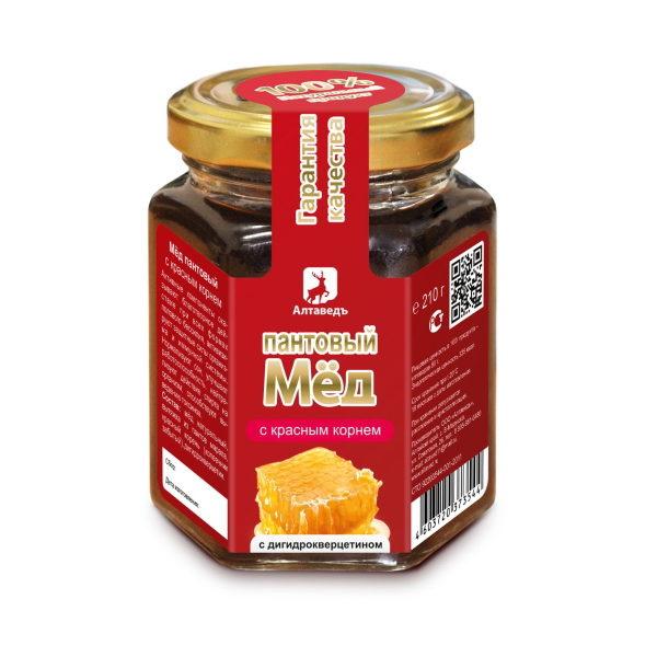 Пантовый мёд с красным корнем и дигидрокверцитином Алтай