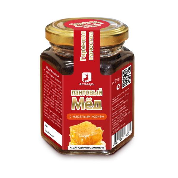 Пантовый мёд с маральим корнем и дигидрокверцитином Алтай